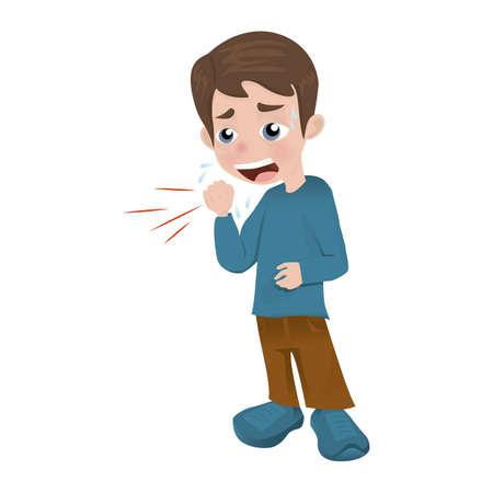 man with cough Ilustração