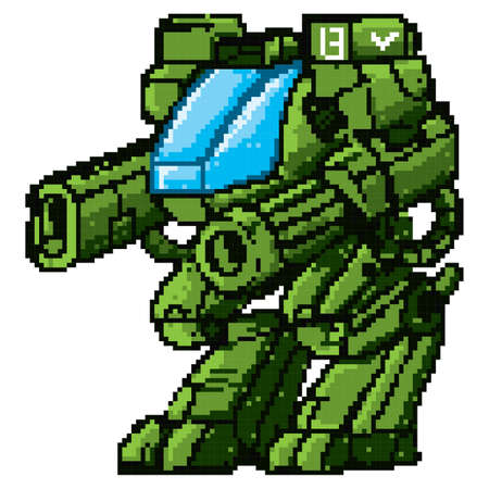 game robot soldier character Illustration