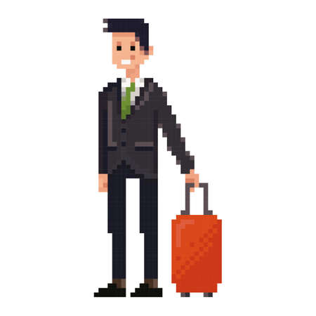 pixel art businessman with luggage