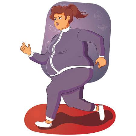 overgewicht vrouw Stock Illustratie