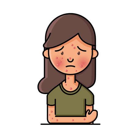 vrouw met waterpokken Stock Illustratie
