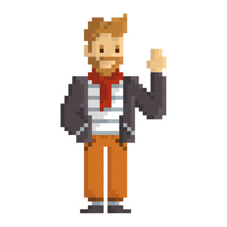 pixel art man fashion