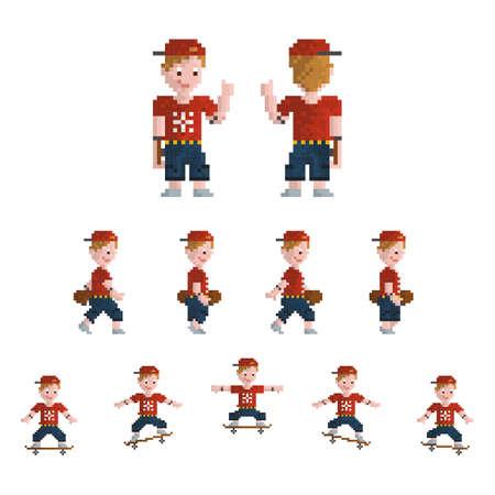 set of pixel art skateboarder icons