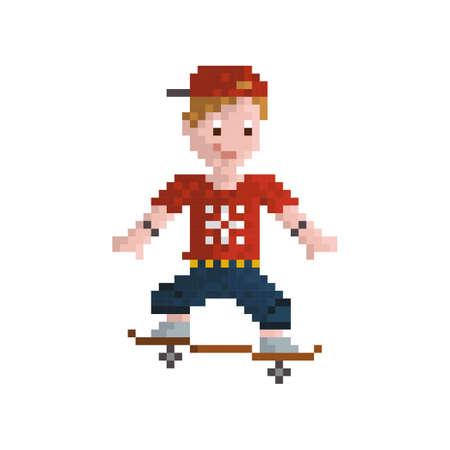 pixel art skateboarder
