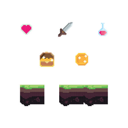 set of pixelated gaming items