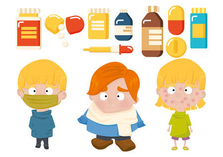 cough syrup: set of health icons