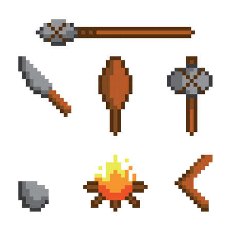 collection of prehistoric weapons