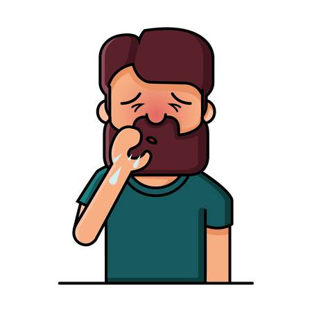 influenza: man coughing