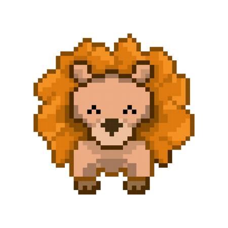 pixel art lion