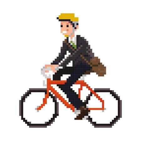 pixel art businessman on a bicycle