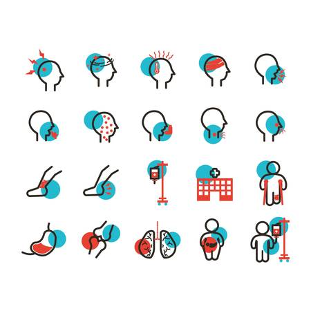 set of illness icons Vectores
