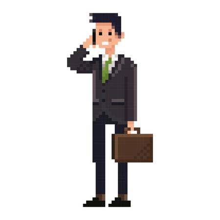 formalwear: pixel art businessman networking