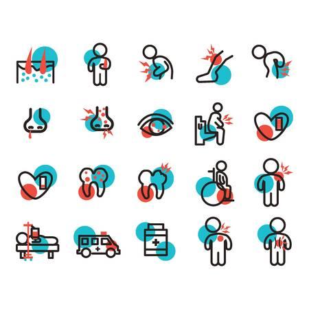 Ensemble d'icônes de maladie Banque d'images - 79214833