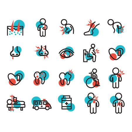 set of illness icons Illustration