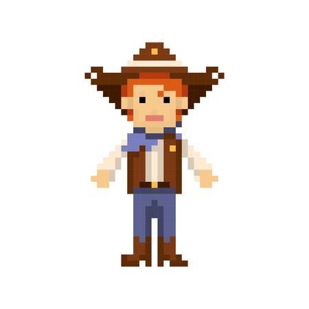 pixel art cow boy
