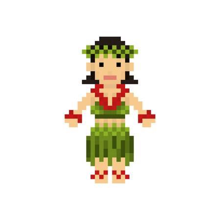 ピクセル アートのハワイアン女性  イラスト・ベクター素材