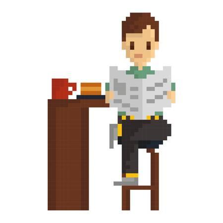 Pixel art man reading newspaper Banque d'images - 79214112