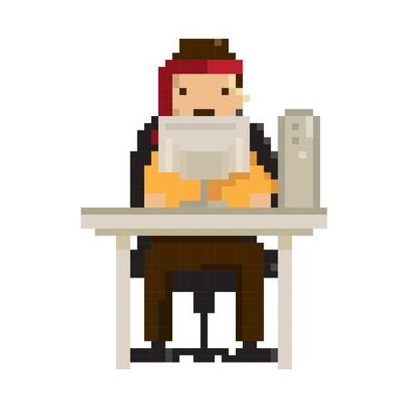 pixel art businessman at work
