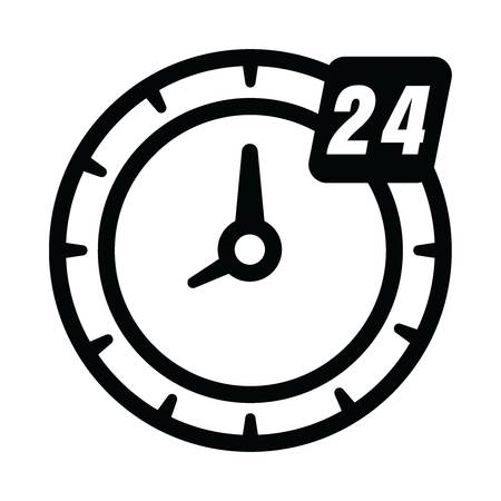 24 hour clock icon Ilustrace