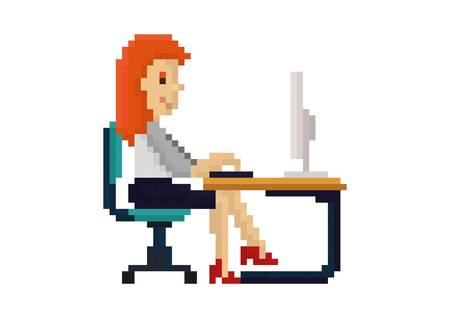 pixel art businesswoman at work