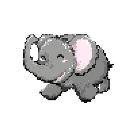 pixel art elephant