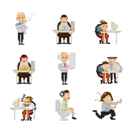 set of pixel art businessman icons