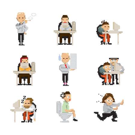 set of pixel art businessman icons