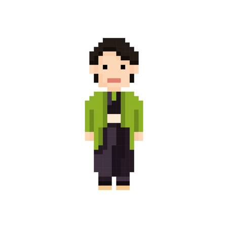 pixel art japanese man Vektorové ilustrace