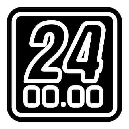 24 hour clock icon Illusztráció