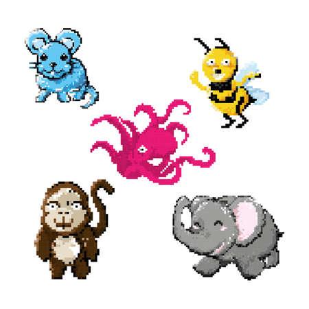 set of pixel art animal icons