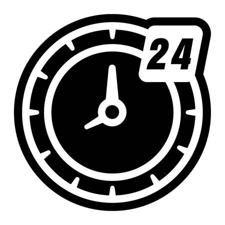 24 hour clock icon Illustration