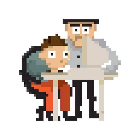 pixel art businessmen at work Illustration