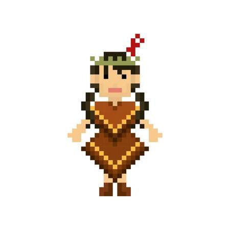 pixel art native american vrouw Stock Illustratie