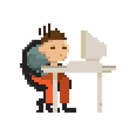 Pixel art zakenman op het werk