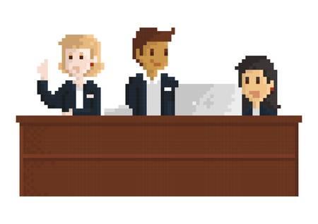 pixel art businessman and businesswoman Illustration
