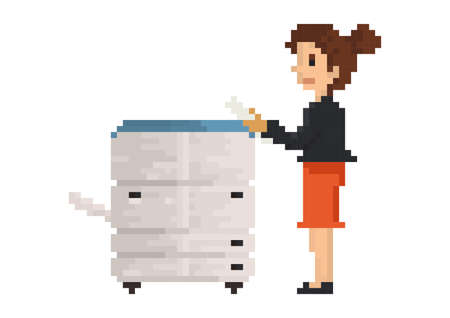 pixel art businesswoman with photocopy machine