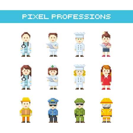 set of pixel art professions icons Çizim