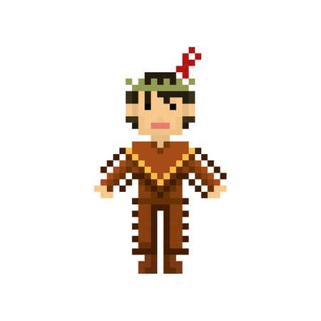 pixel art native american man Illustration
