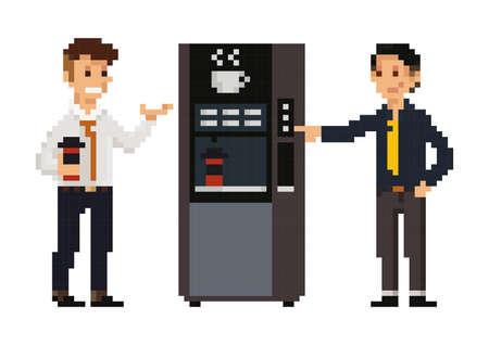 pixel art businessmen at pantry Illustration