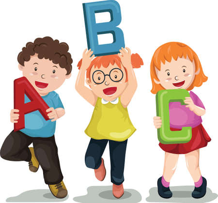 children holding abc letters