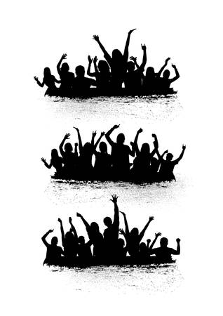 set of cheering crowd icons