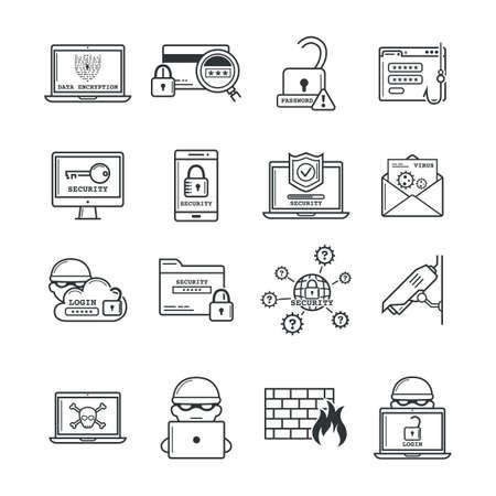 Ensemble d & # 39 ; icônes de crime cyber Banque d'images - 79213870