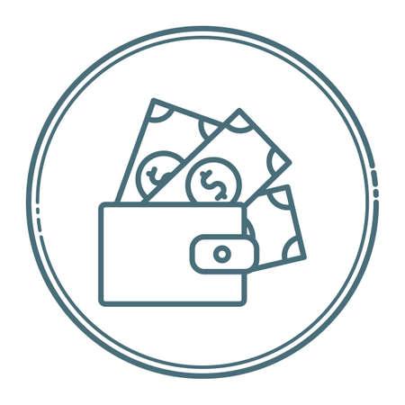 wallet with banknotes Ilustração