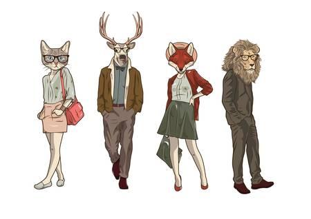set of animal character icons