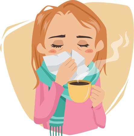 감기에 걸린 여자 일러스트