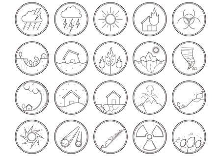 hazard: set of natural disaster icons Illustration