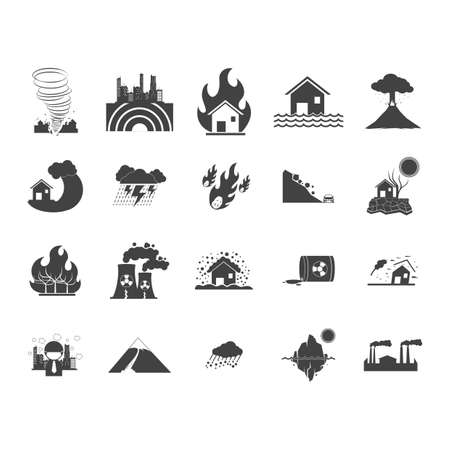blizzards: collection of disaster icons
