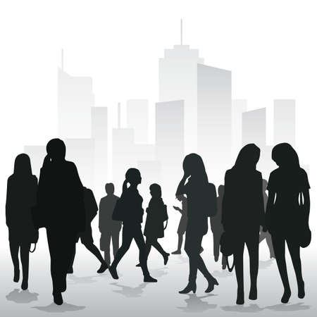 crowd in the city Illustration