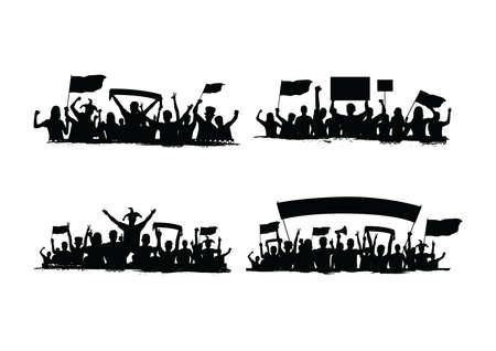 群衆の中のシルエットのコレクション  イラスト・ベクター素材