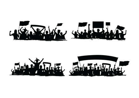 collection of crowd silhouettes